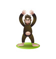 furry brown bigfoot with hands up stay to protect vector image vector image