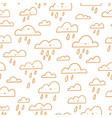 golden outline happy clouds rainy weather vector image vector image