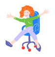 happy woman is riding in an office chair vector image vector image