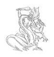 hercules grappling dragon drawing black and white vector image vector image
