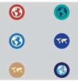 icons of maps and globes in a flat design vector image vector image