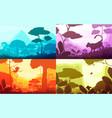 jungle cartoon landscapes set vector image vector image