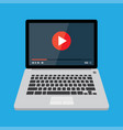laptop with video player on screen vector image vector image