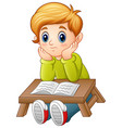 little boy confused read a book vector image vector image