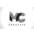 mc logo letter with black lines design line letter vector image vector image
