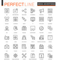 Media advertising thin line web icons set outline vector image