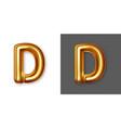 metallic gold alphabet letter symbol - d vector image