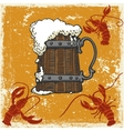 mug with beer and crayfish vector image vector image