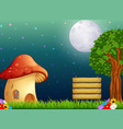 mushroom house and the bright moon on forest vector image