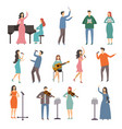 musician persons in different music duets vector image vector image