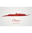 Ottawa skyline in red vector image
