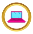 Pink laptop icon vector image