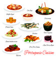 portuguese cuisine meals menu vector image