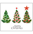 realistic christmas tree holly xmas set vector image