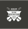 rock star guitar shop label badge emblem vector image vector image