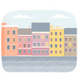 row multicolored buildings on street in vector image