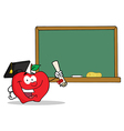 Royalty Free RF Clipart Graduate Apple Character vector image vector image