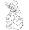 scarecrow wizard oz coloring page vector image vector image