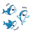 Set of blue shark cartoon character isolated on vector image vector image