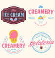 set vintage ice cream shop logo badges and vector image