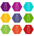 shampoo dispenser icons set 9 vector image vector image