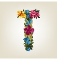 T letter Flower capital alphabet Colorful font vector image vector image