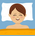 top view of young woman sleeping in bed at home vector image