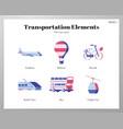transportation elements flat pack vector image vector image