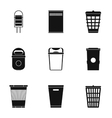 Waste rubbish icons set simple style vector image vector image