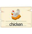 wordcard design for chicken in the nest vector image vector image