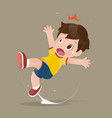 yellow shirt cartoon boy feel shock because vector image