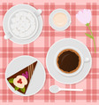 coffee with milk and cake on the table vector image
