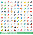 100 network icons set isometric 3d style vector image vector image