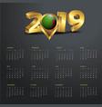 2019 calendar template zambia country map golden vector image vector image