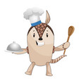 armadillo with chef hat on white background vector image vector image