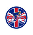british cyclist cycling union jack flag icon vector image