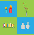 candles and vases interior set vector image