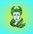 capricorn girl portrait zodiac sign of air green vector image
