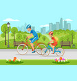 cartoon father with son riding on bicycles in park vector image vector image
