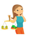 caucasian white woman weighing food and dumbbell vector image vector image