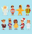cute cartoon kids carnival holiday costumes vector image