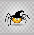 cute funny yellow cartoon spider wearing witch vector image vector image