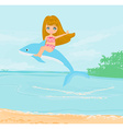 cute girl is riding a dolphin vector image vector image
