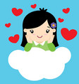 cute little girl in love sitting on a cloud vector image