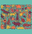 doodle color poster with hand-drawn zoo animals vector image
