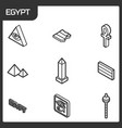 egypt outline isometric icons vector image vector image