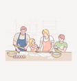 family recreation cooking fatherhood vector image vector image