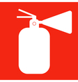 Fire extinguisher isolated on red background icon vector image vector image