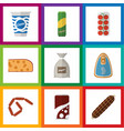 flat icon eating set of bratwurst yogurt sack vector image vector image
