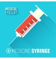 flat medical syringe background concept vector image